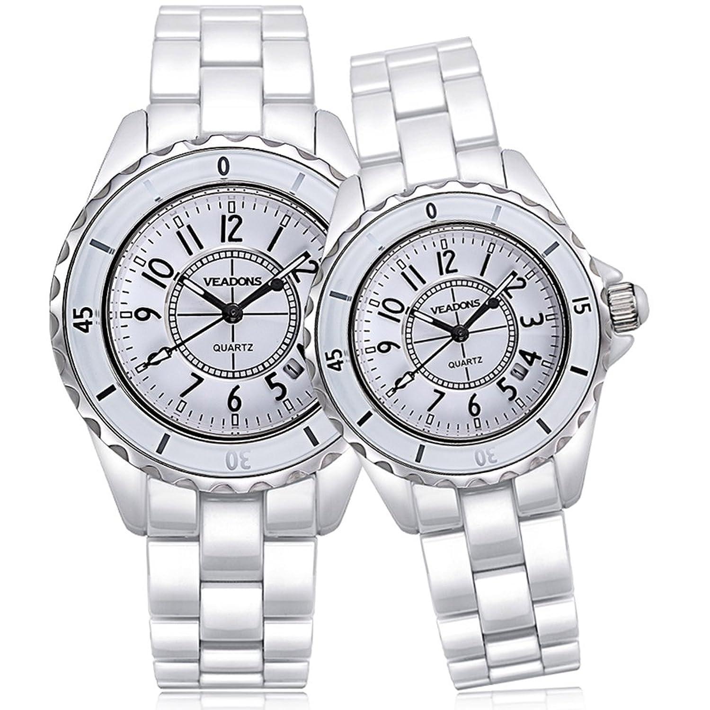 veadons 2 Damen Keramik wasserdicht Quarz Saphirglas Uhr Mode Casual Weiß weiblich Armbanduhr
