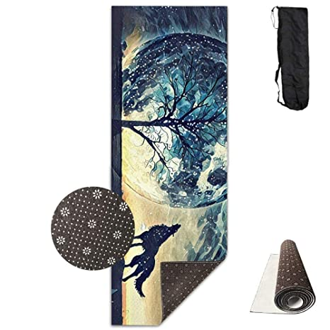 Amazon.com : wenhuamucai Howling Wolf and Bare Tree Yoga Mat ...