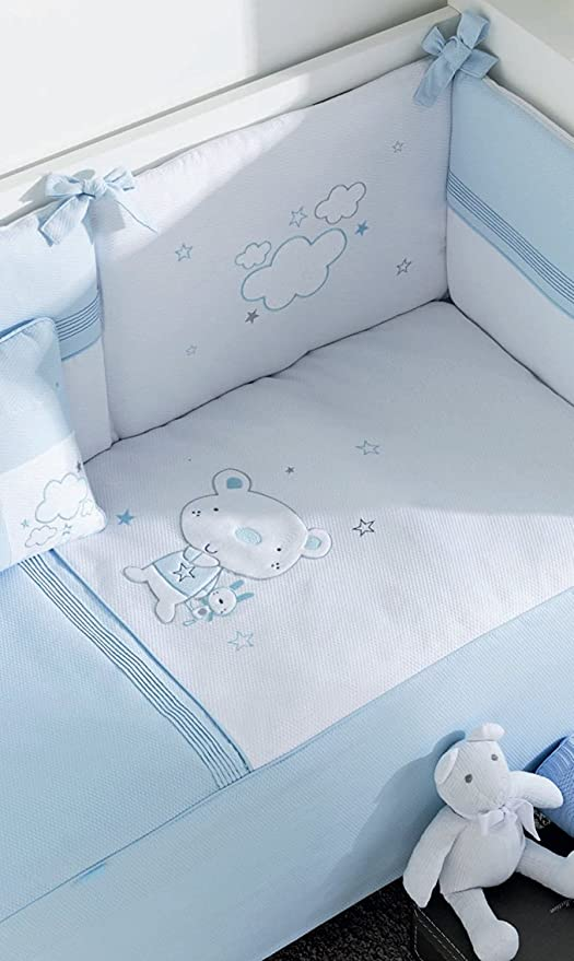 Pirulos Edredón Osito Star Azul - Protector - Cojín - Cuna 60x120