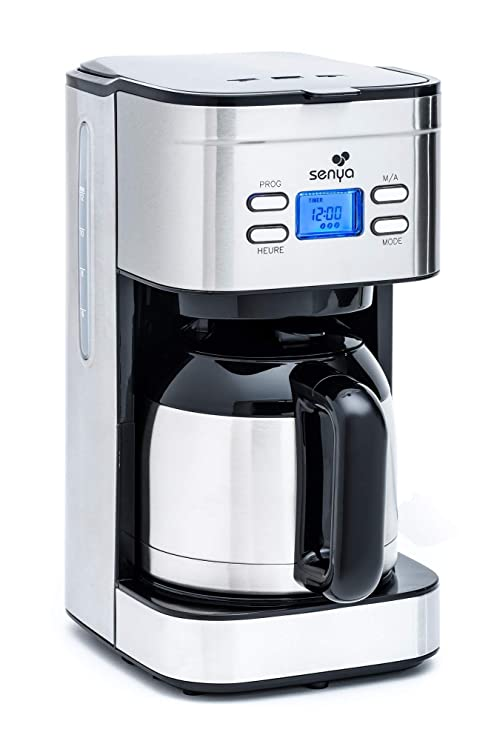 Senya - Cafetera programable, 1,2 l, acero inoxidable ...
