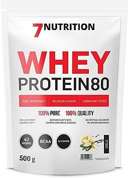 7Nutrition Whey Protein 80 Paquete de 1 Polvo de proteína de suero Construcción de proteínas en polvo Polvo Concentrado de proteína de suero (Vanilla, ...