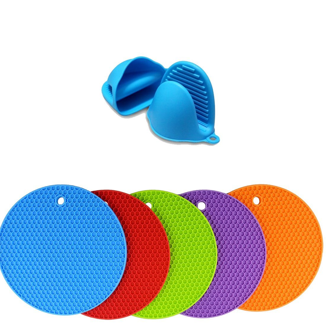 5 X Hot Pot Holders and Oven Mitts Silicone Trivet Set, Multipurpose Kitchen Utensils, Spoon Rest, Hot Pads, Tableware Insulation Trivets Pots and pans Mat, Non-slip, Heat Resistant, Flexible.