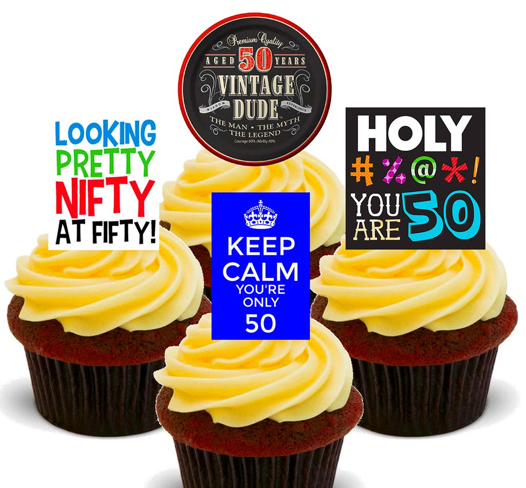 Phenomenal 50Th Birthday Male Funny Edible Cupcake Toppers Stand Up Wafer Personalised Birthday Cards Paralily Jamesorg
