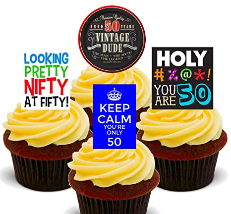 Outstanding 50Th Birthday Male Funny Edible Cupcake Toppers Stand Up Wafer Funny Birthday Cards Online Necthendildamsfinfo