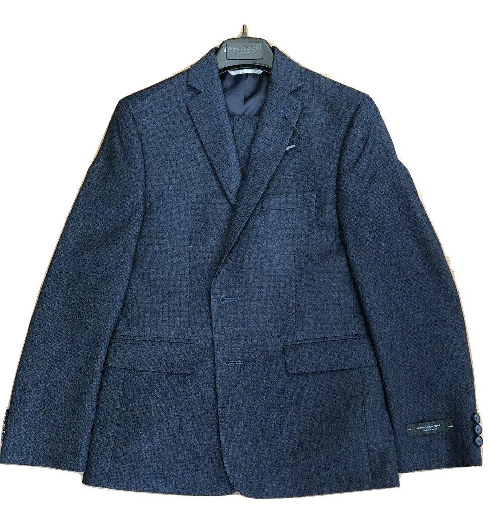 Boys Andrew Marc Husky Tattersall Suit Navy (Navy, 18 Husky)