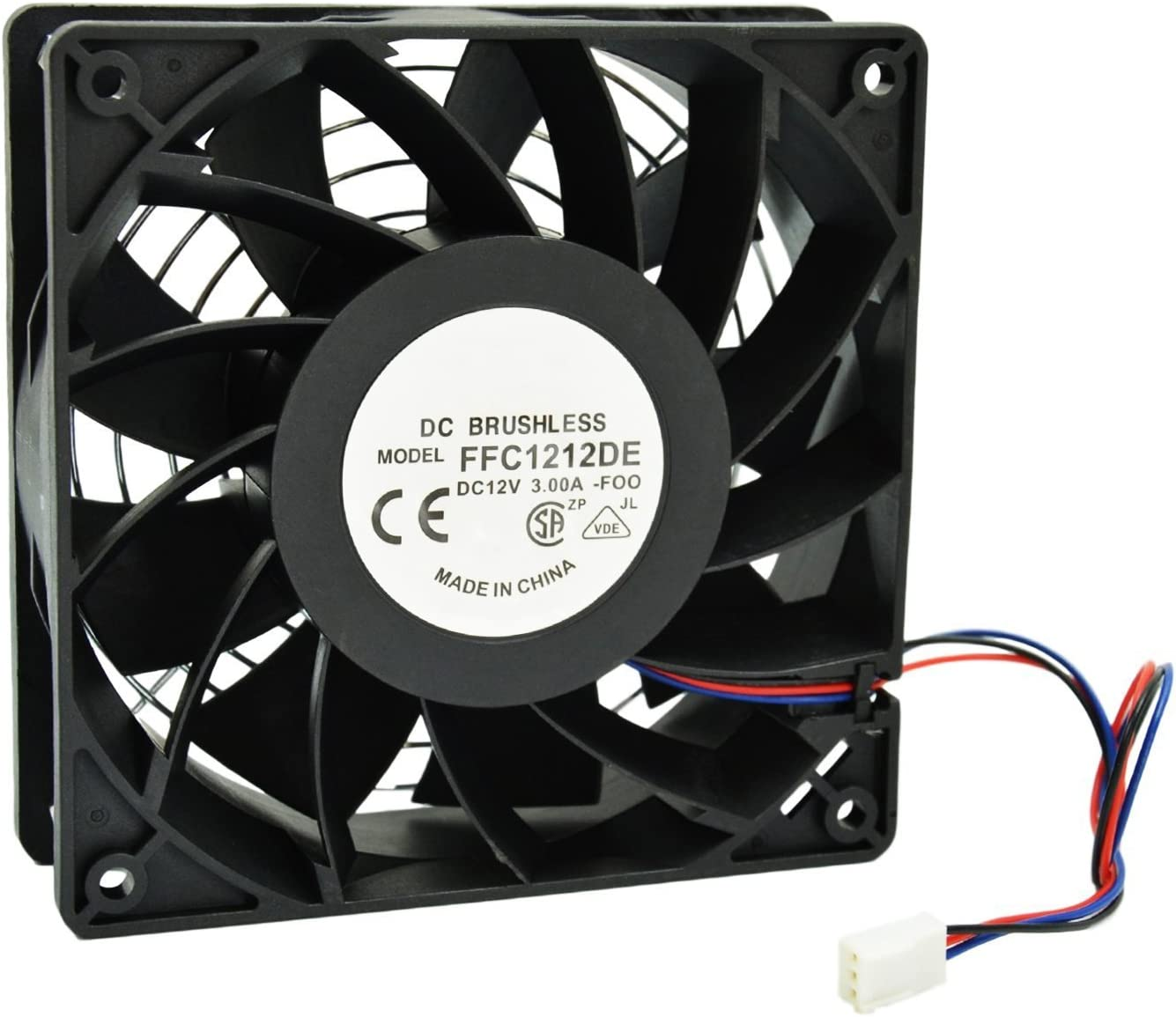 PC Cooling Fan 12cm 12V DC 200CFM Brushless Motor 3-Pin Connector High Speed Fan