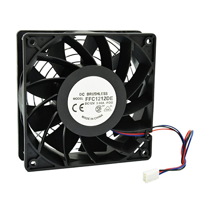 HIGHFINE 12cm 120mm 200CFM 4000RPM CPU Cooling Fan FFC1212DE 12V DC 3-Pin 3-Wire PC Computer High CFM Cooling Case Fan with Metal Finger Guard Grill