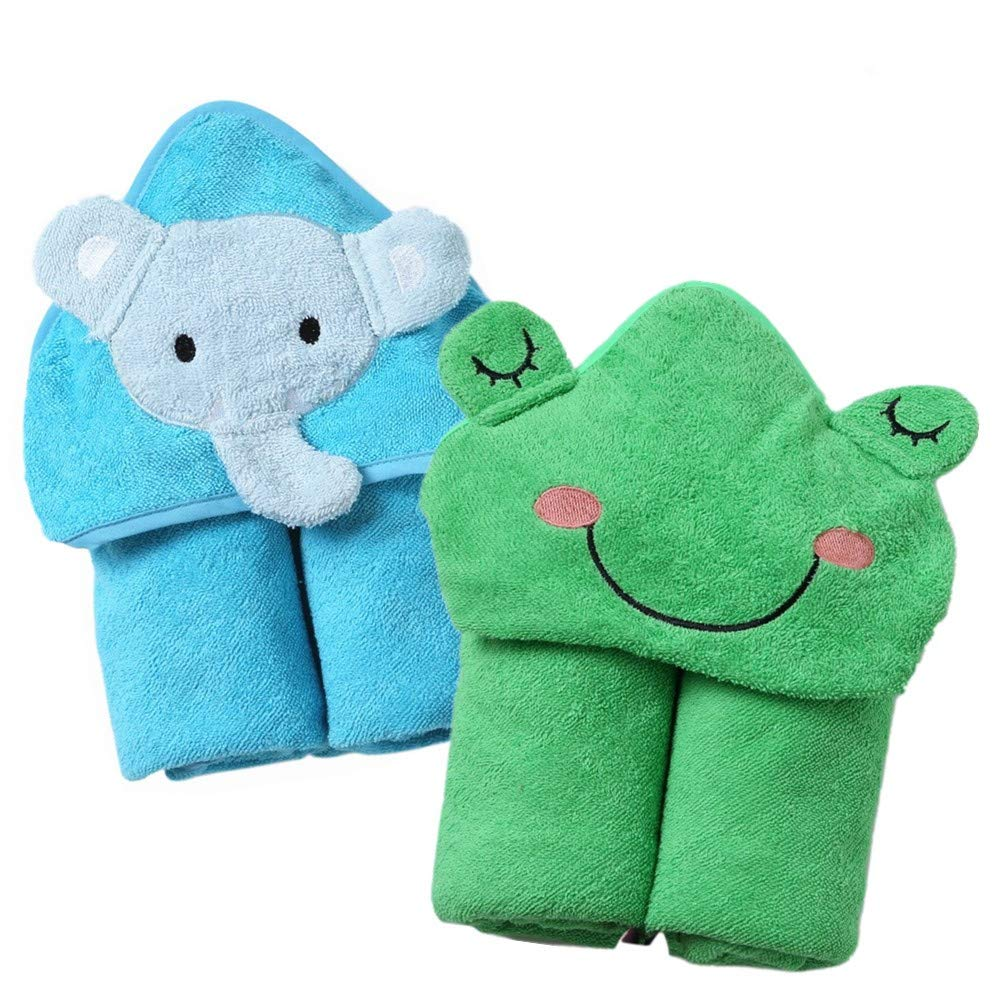 InsHere Elephant & Frog Kids Towels with Hood for Bath Beach Swimming Pool, 2 Packs for Toddler Boys & Girls, Oversized 35x35 Cute Animal Design Hooded Towel Wrap, 100% Cotton Cozy & Absortbent by InsHere