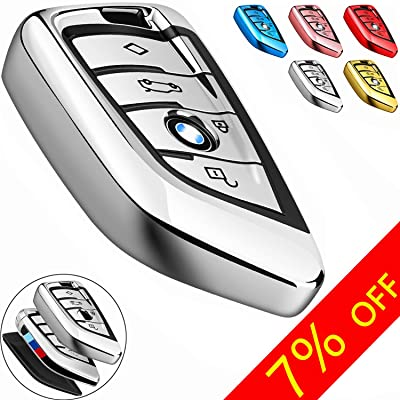 COMPONALL for BMW Key fob Cover, Key Fob Case for BMW 2 5 6 7 Series X1 X2 X3 X5 X6 Premium Soft TPU Anti-dust Full Protection, Silver: Automotive