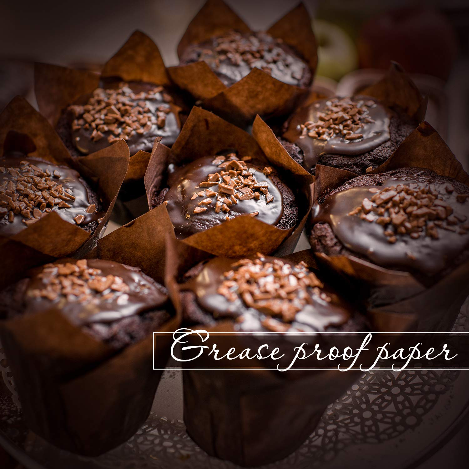 Medium Sleeve of 50 Royal Brown Tulip Style Baking Cups Cupcake liner,Cupcake wrappers,Parchment paper cupcake liners