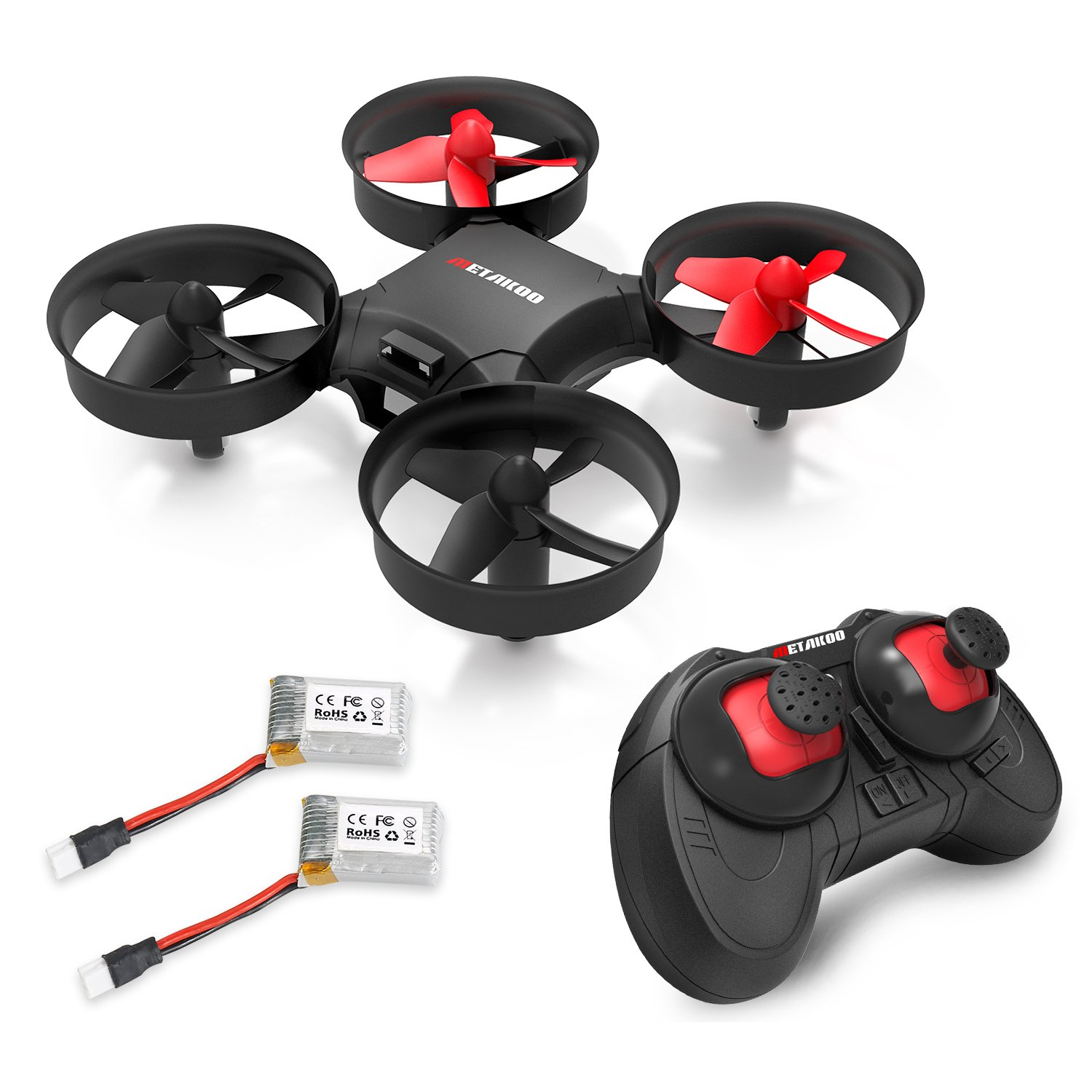 Drone, Metakoo M1 Mini Drone 2.4GHz 6-Axis Double Battery for Beginners and Kids Drone with 360°Full Protection, Altitude Hold, 3D Flips, Headless Mode, 3 Speed Modes Functions