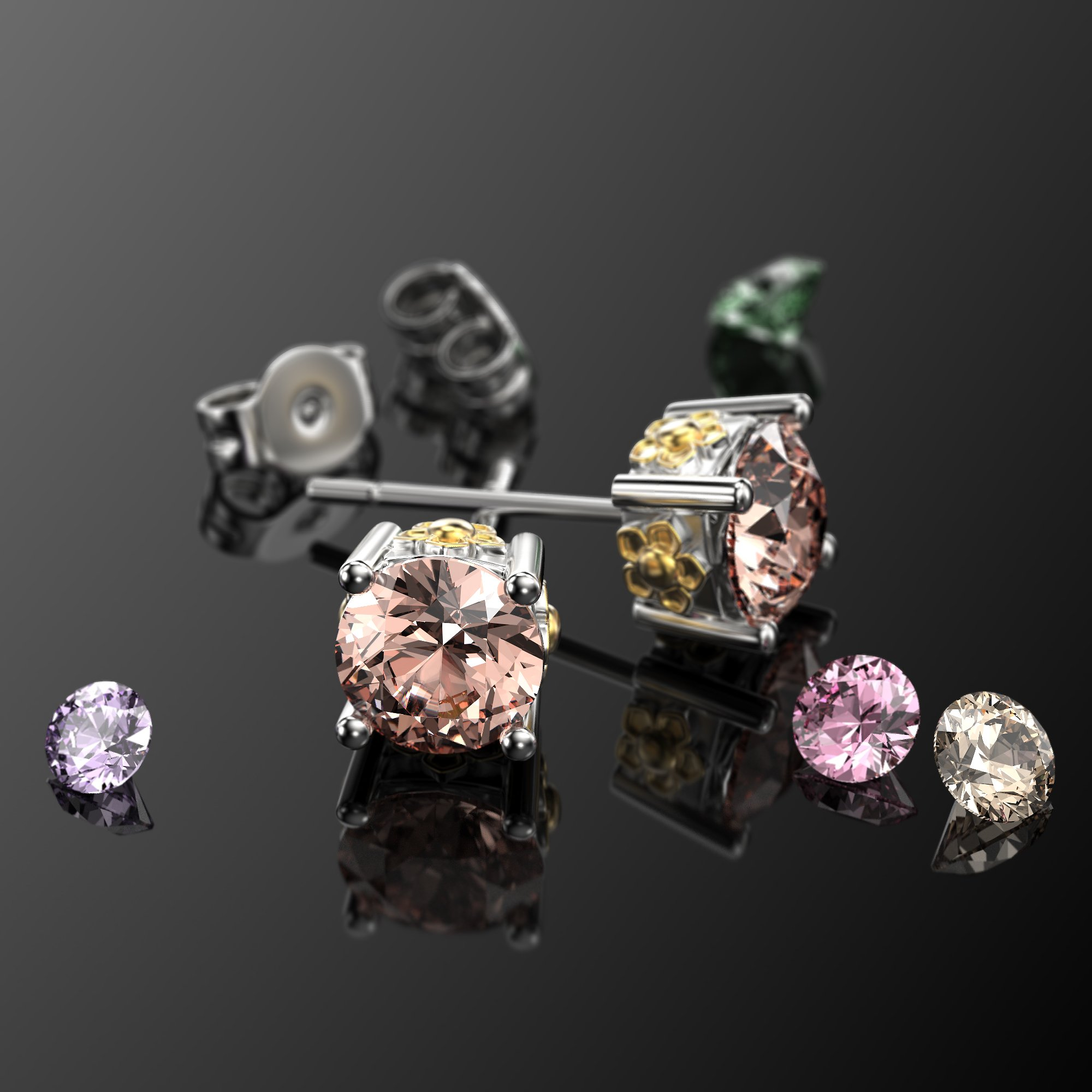 VAN LECONY White Gold and Gold Plated Flower Stud Earrings,Light Peach by VAN LECONY (Image #5)
