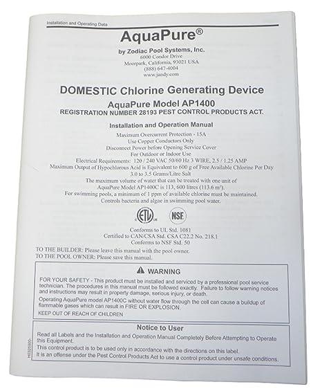 Amazon. Com: aquapure h0325900 ap1400 installation and operation.