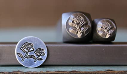 Amazon Com 2 Stamp 8mm And 6mm Rose Flower Metal Punch