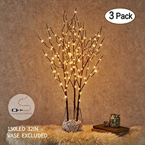 Hairui Lighted Willow Branches Brown with Fairy Lights Decor 32in 150LED, Pre lit Artificial Twig Tree Branch Lights for Home Indoor Room Valentine Decoration Plug in 3 Pack (Vase Excluded)