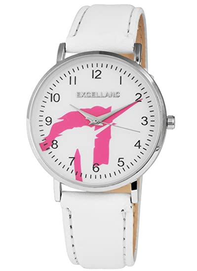 Excellanc llanc Mujer Reloj Quartz Reloj De Pulsera en color blanco con unicornio Esfera