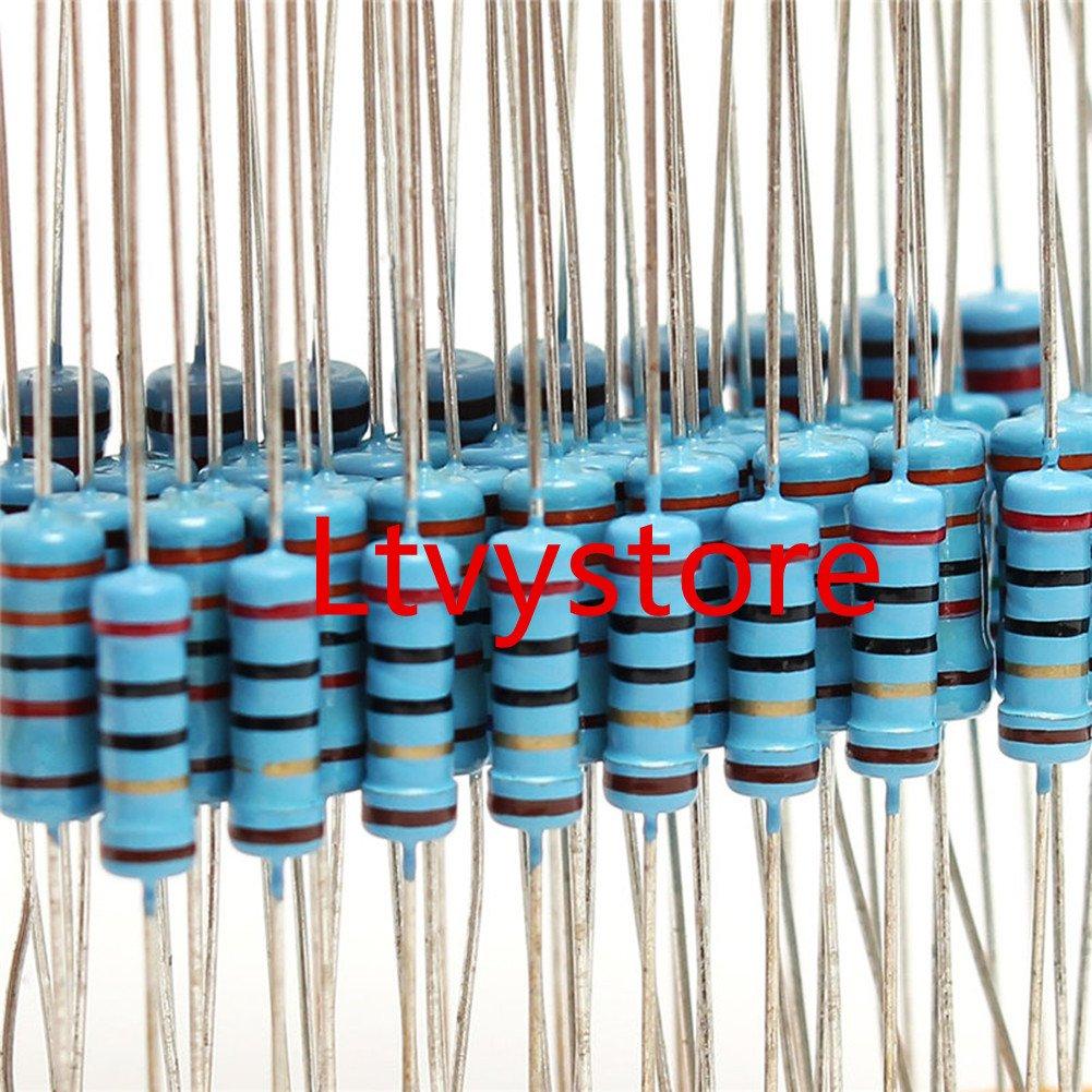 2.2M Ohm Resistor Pack Assorted 1 Watt 1W Resistors Kit Ltvystore Resistor Box Assortment Metal Film 35 Values 1/% Resistance Resistors Set Arduino Package of 350 1 Ohm