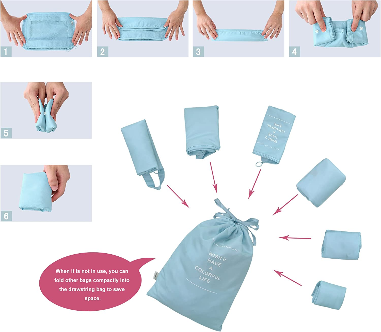 G4Free Packing Cubes Value Set Gep/äck-Organizer f/ür Reisen 7-teilig Pink 6 St/ück rosa 2 m