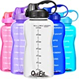QuiFit Gallon Motivational Water Bottle - with Straw & Time Marker,BPA Free Reusable Large Leakproof Portable Water Jug…