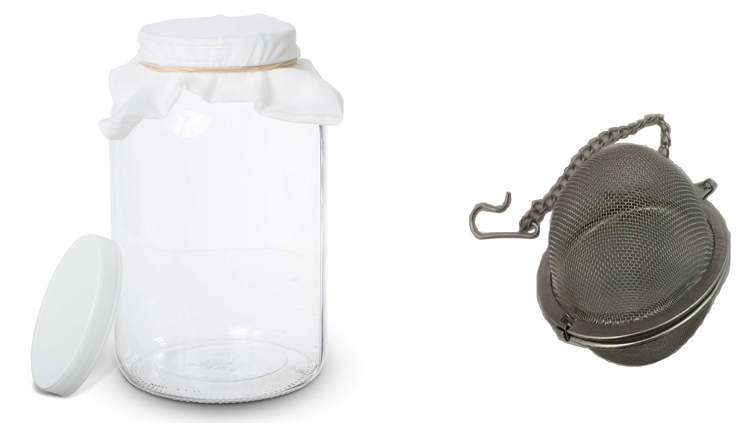 1 Gallon Glass Kombucha Jar with Stainless Steel Tea Infuser - Home Brewing and Fermenting Kit with Cheesecloth Filter, Rubber Band and Plastic Lid - By Kitchentoolz