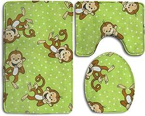 Princekling Green Clever Monkey 3-Piece Soft Bath Rug Set Includes Bathroom Mat Contour Rug Lid Toilet Cover Home Decorative Doormat