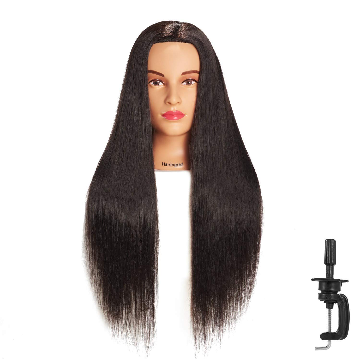 Hairingrid 26''-28'' Mannequin Head Hair Styling Training Head Manikin Cosmetology Doll Head Synthetic Fiber Hair and Free Clamp Holder (Black) by Hairingrid
