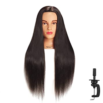 Amazon Com Hairingrid 26 28 Mannequin Head Hair Styling Training Head Manikin Cosmetology Doll Head Synthetic Fiber Hair And Free Clamp Holder Black Beauty