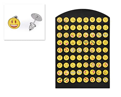99ecc5c63 Image Unavailable. Image not available for. Color: Ace Select Exclusive  Stylish Jewelry 36 Pairs Emoticons Stud Earrings - 1cm Round Resin ...
