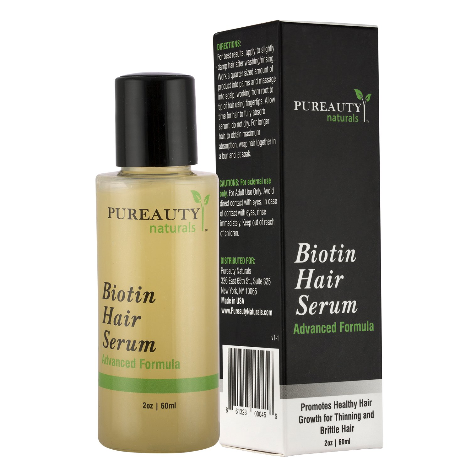 Biotin Hair Growth Serum by Pureauty Naturals – Advanced Topical Formula to Help Grow Healthy, Strong Hair – Suitable For Men & Women Of All Hair Types – Hair Loss Support