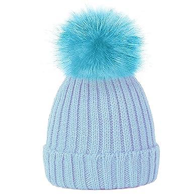 57310a45076a TOSKATOK® Filles en Fausse Fourrure Pom Pom Beanie Casquette Bonnet - Bebe  Bleu