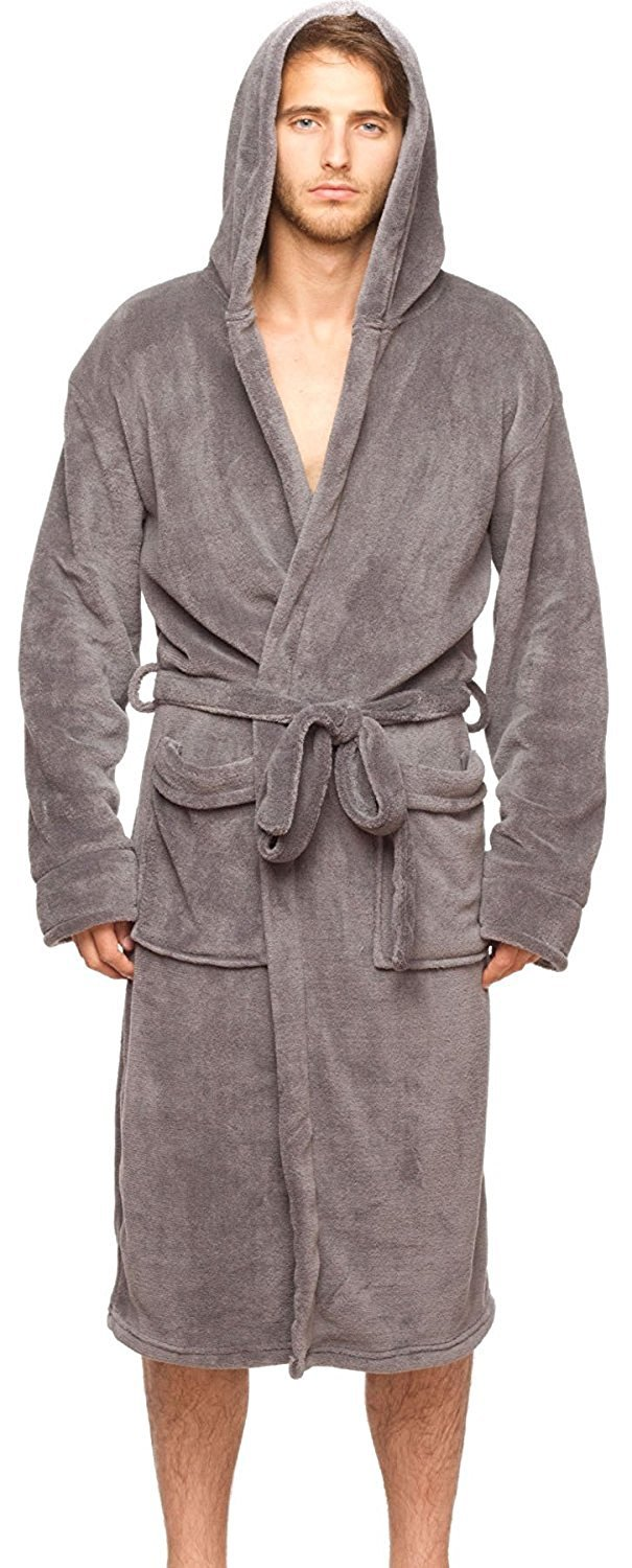 Wanted Men's Bathrobe Hooded Robe Plush Micro Fleece with Front Pockets (Charcoal, Small/Medium)
