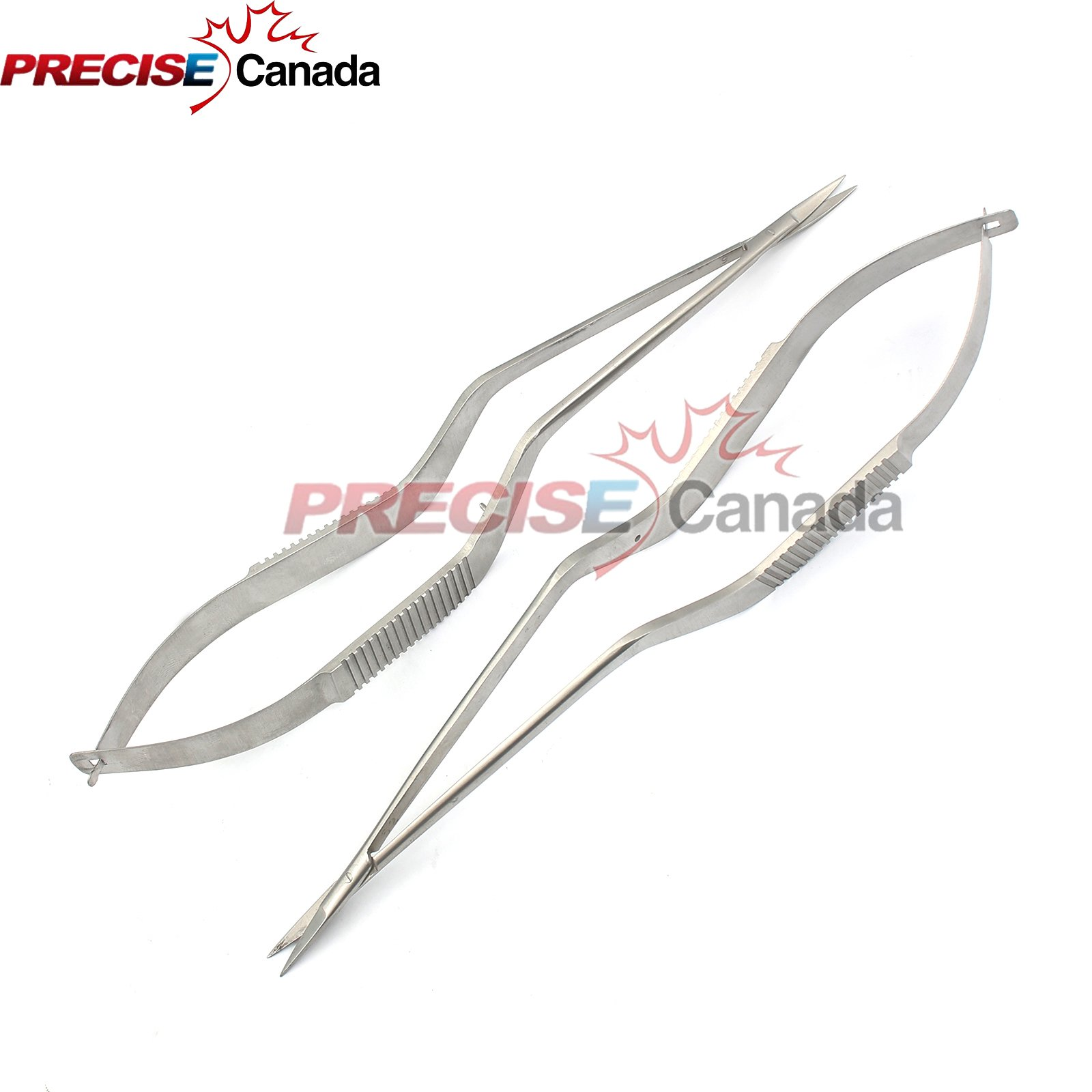 PRECISE CANADA: TWO PIECES YASARGIL BAYONET MICRO SCISSORS 7.5'' ONE STR, ONE CVD