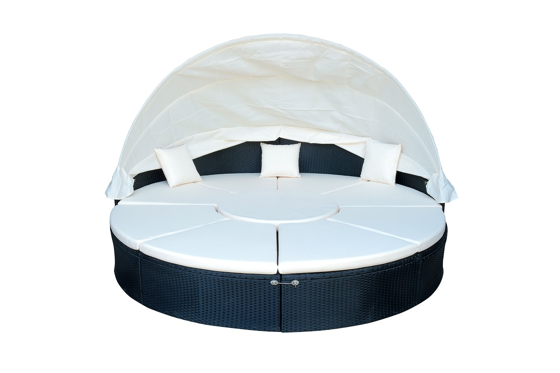MCombo Patio Round Daybed Wicker Sofa Outdoor Retractable Canopy Wicker Rattan Furniture Set Cushioned Seat 6089-0230
