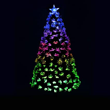 8c2ef94932aeb Mr Crimbo Pre-Lit Christmas Tree Artifical Green Pine Spruce With  Mulitcoloured Fibre Optic Branches