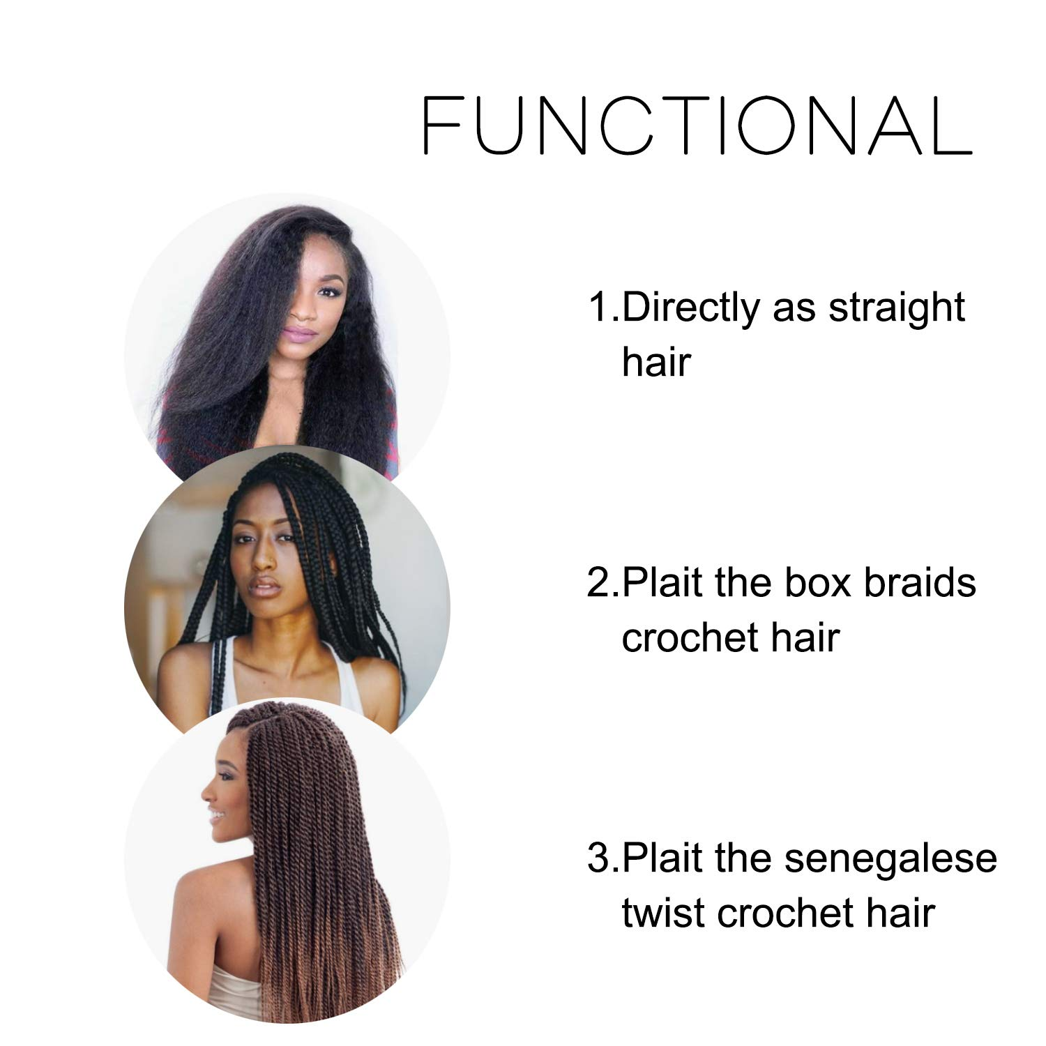 Pre-stretched Braiding Hair 8 Packs 20 Inch Professional Itch Free Low Temperature Synthetic Fiber Crochet Braids Crochet Hair Braiding Hair Extension Twist Braid (1B/30#) by Eerya (Image #8)