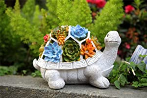 Garden Statue Turtle Figurine-Solar Outdoor Garden Snail Statue, Waterproof Resin Statue, Indoor and Outdoor Decorations, Garden Lawn Yard Art Decoration