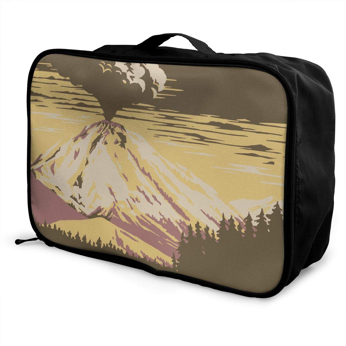 ADGAI Before The Volcano Erupted Painting Canvas Travel Weekender Bag,Fashion Custom Lightweight Large Capacity Portable Luggage Bag,Suitcase Trolley Bag
