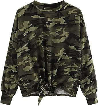 SweatyRocks Women's Casual Crewneck Long Sleeve Knot Sweatshirt Pullover T-Shirt Tops