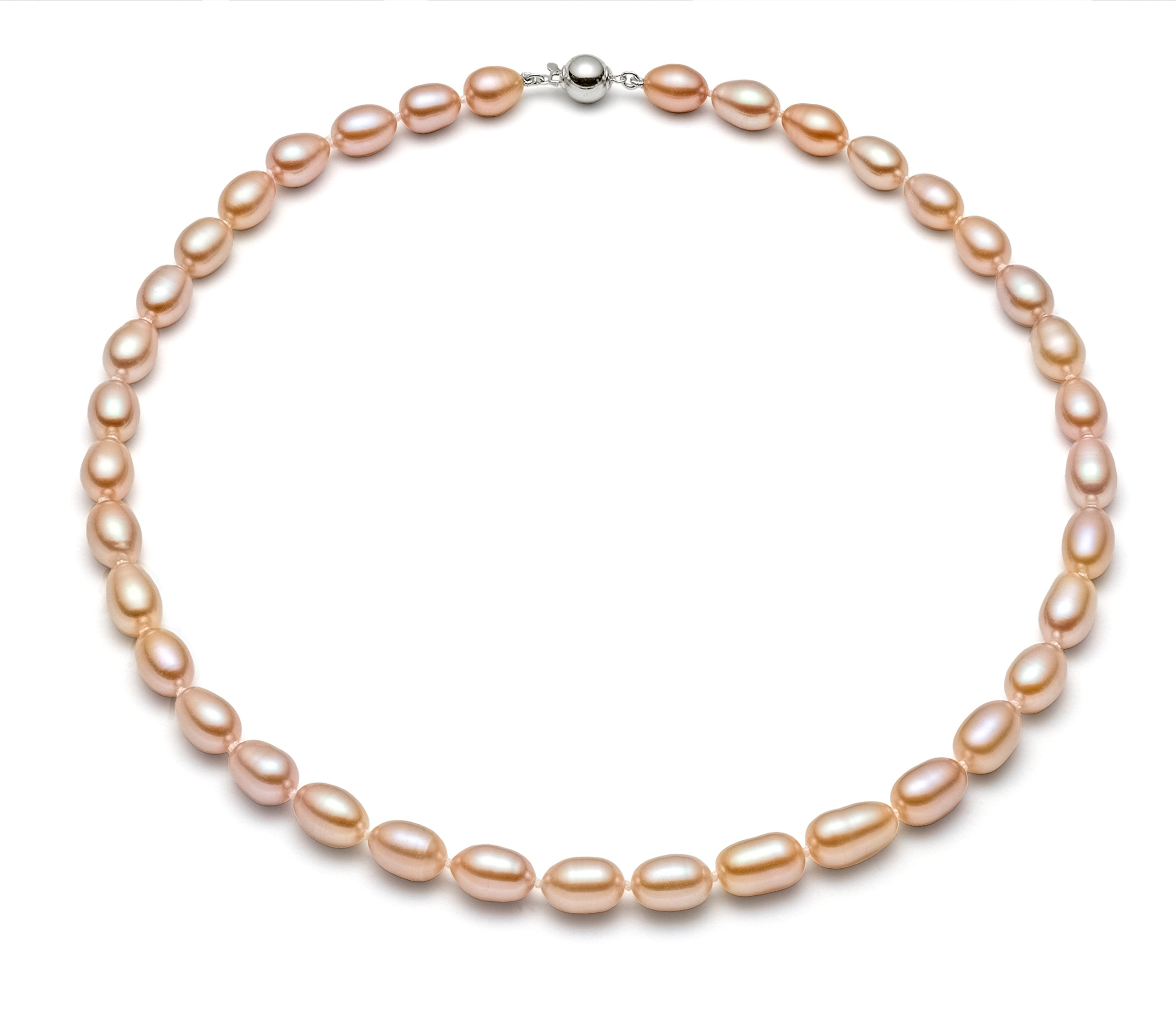 HinsonGayle AAA Handpicked 8-8.5mm Pink Oval Freshwater Cultured Pearl Necklace Silver 18 inch-18 in length