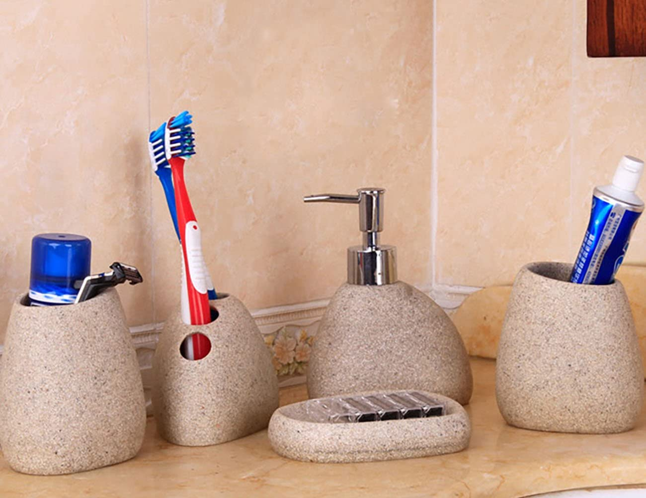 Toothbrush Holder Soap Dispenser ShiyiUP 5 Pcs Bathroom Sccessories Set of Ceramic Soap Dish Toothbrush Cup with Gift Box