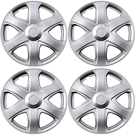16 inch Hubcaps Best for 2009-2010 Toyota Matrix - (Set of 4) Wheel Covers 16in Hub Caps SIlver Rim Cover - Car Accessories for 16 inch Wheels - Snap On ...
