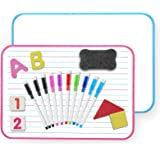 Small White Board, Magnetic Dry Erase Board for Students With 10 Markers and Educational Numbers, Letters for Learning Writin