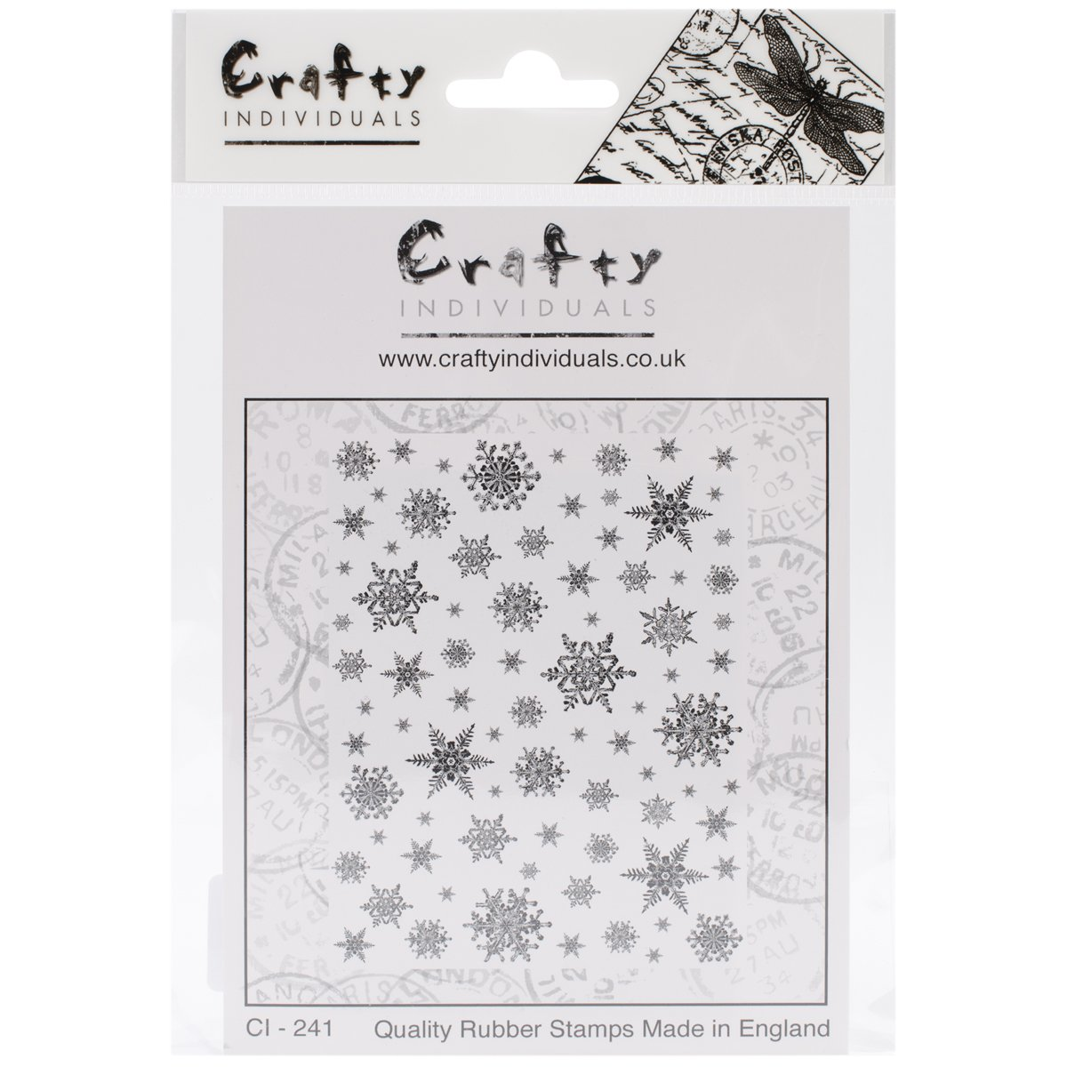 Crafty Individuals CI-241 Unmounted Rubber Stamp, Snowflakes Background