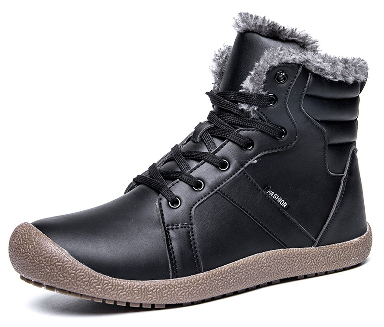 Santimon Womens Mens Winter Snow Boots Leather Waterproof Outdoor Ankle Booties Classic Comfortable Warm Sneaker Shoes Black 12.5 D(M) US