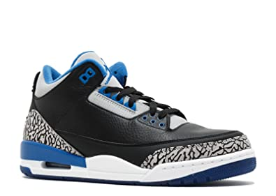 95f12b986a11ad Jordan Air 3 Retro Men s Shoes Black Sport Blue-Wolf Grey 136064-007