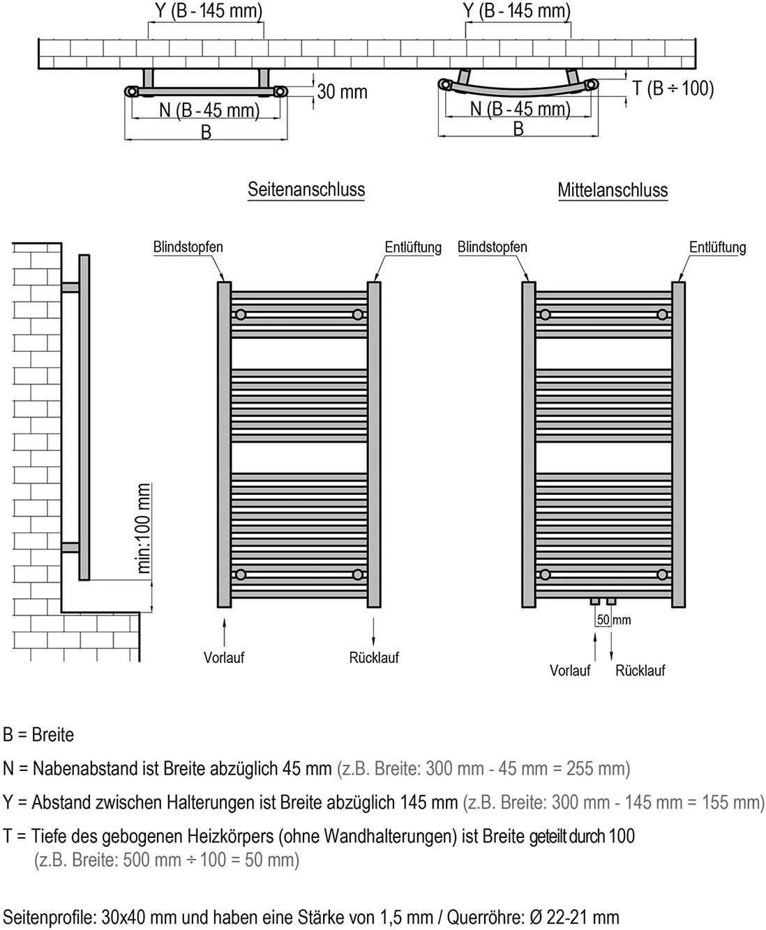 Mittelanschluss Badheizk/örper ASTORIA 500x1800 mm weiss gerade Handtuchheizk/örper Handtuchw/ärmer
