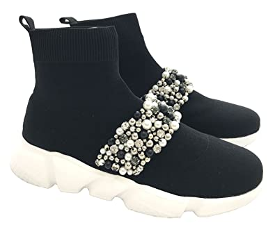 Studio Italia Damen Sportschuhe Speed Sneaker mit Perlen Turnschuhe Slip-on Walking Schuhe Socks Schuhe Weiß Saison 2018 (39) D4doU