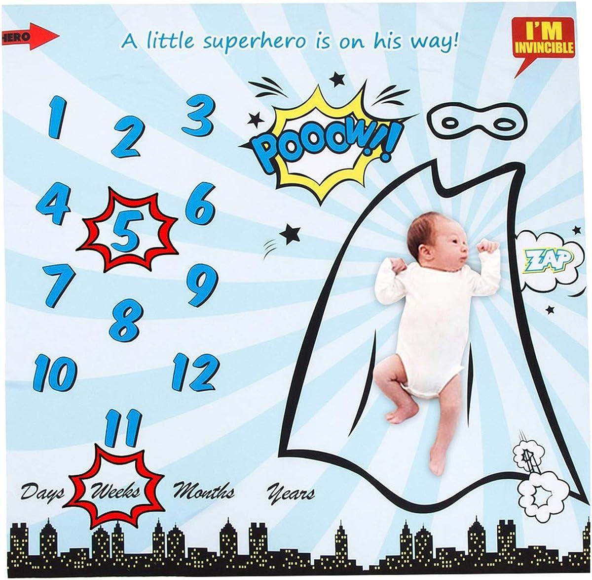 Puseky Superhero Print Baby Monthly Milestone Blanket 2 Frame Baby Girl Photography Background Photo Prop Bekleidung