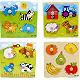 LASLU 4-Pack Wooden Kids Children Jigsaw Education And Learning Puzzles Toys,Highest Quality Materials,Fit For 1-3 Years Baby,Training Kids Imagination,Non-toxic Paints(random style)