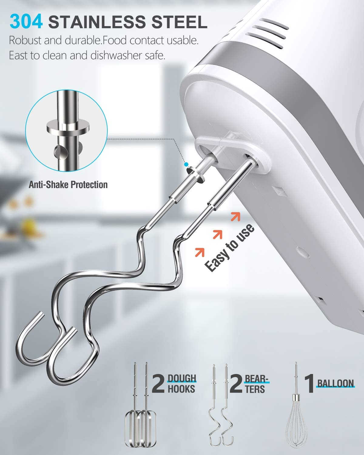 Cakes and Dough Batters Brownies 5 Speed 400W Turbo with 5 Stainless Steel Accessories for Easy Whipping Mixing Cookies Liraip Electric Hand Mixer